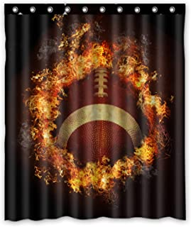 FMSHPON Spirit Of Flaming American Football Waterproof Polyester Fabric Shower Curtain 60 X 72 Inches