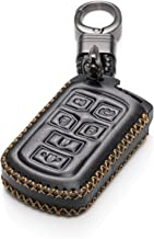 Vitodeco Genuine Leather Smart Key Keyless Remote Entry Fob Case Cover with Key Chain for 2011-2019 Toyota Sienna (6 Buttons, Black)