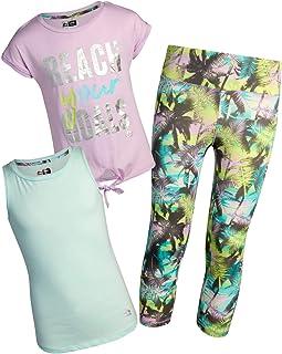 RBX Girls' Activewear Set - Short Sleeve Performance T-Shirt, Tank Top, and Yoga Pants Leggings Set