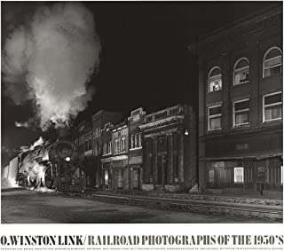 "O. WINSTON LINK Mainline on Mainstreet 27.5"" x 31.5"" Poster 1988 Photography Black & White Train, Street, Night, Smoke,"