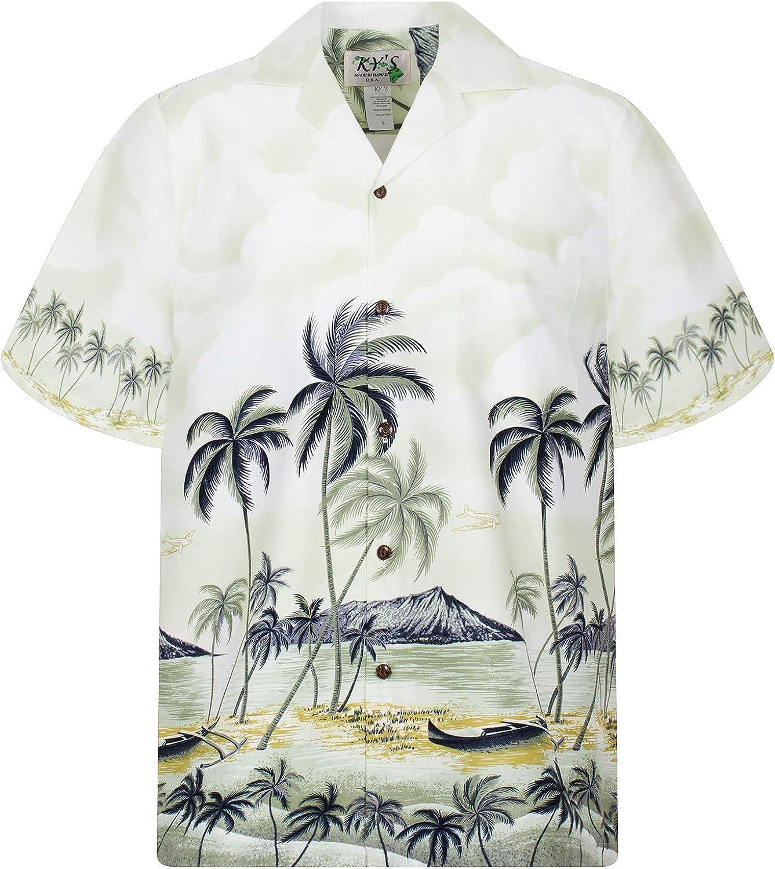 KYs | Original Camisa Hawaiana | Caballeros | S - 8XL | Manga Corta | Bolsillo Delantero | Estampado Hawaiano | Playa | Palmas | Verde
