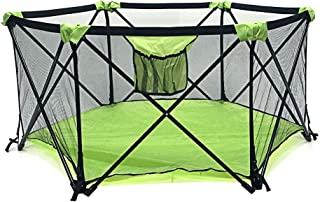 My Little Beetle, Portable & Foldable Playpen for Infants and Babies | for Outdoor Or Indoor Use | Light & Open Playard with Hexagon Shape | Color Green and Black