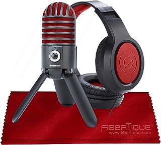 Samson Meteor Mic USB Studio Microphone, Limited Edition - Titanium Black/Red with Closed-Back Headphones Bundle