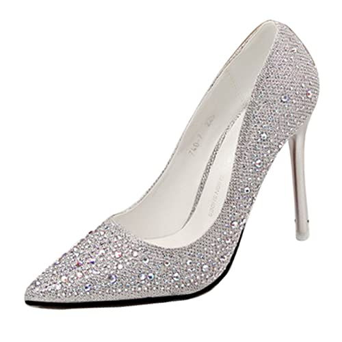 7423786d47f2 Gaorui Ladies high Heel Pointed Toe Stiletto Womens Sparkly Diamante Prom  Party Shoes