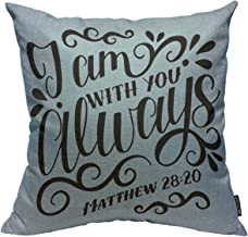 Mugod Christian Scripture Throw Pillow Cover Bible Background with Hand Lettering J Am with You Always Decorative Square Pillow Case for Home Bedroom Living Room Cushion Cover 18x18 Inch