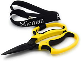Micman Professional Grade Floral Scissors. High Carbon Steel Teflon Coated Blade (No Rust!) with Comfort Grip Handle. Florist Shears Perfect for Arranging Flowers, Pruning, Trimming Plants, Gardening