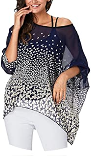Plus Size Blouse Shirt Women Striped Print Summer Tops Tees Batwing Sleeve Casual Chiffon Blouses 2019