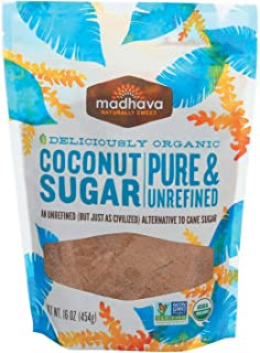 Madhava Honey, Coconut Sugar; Pure & Refined, Pack of 6, Size - 16 OZ, Quantity - 1 Case