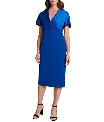 Tahari by ASL Flutter Sleeve Twist Front Stretch Crepe Dress Women