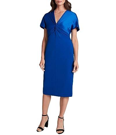 Tahari by ASL Flutter Sleeve Twist Front Stretch Crepe Dress (Cobalt) Women