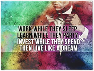 Work While They Sleep. Live Like A Dream: CanvasMafia Inspirational Canvas Wall Art for Office and Home Decor, Inspiring Motivational Canvas Art