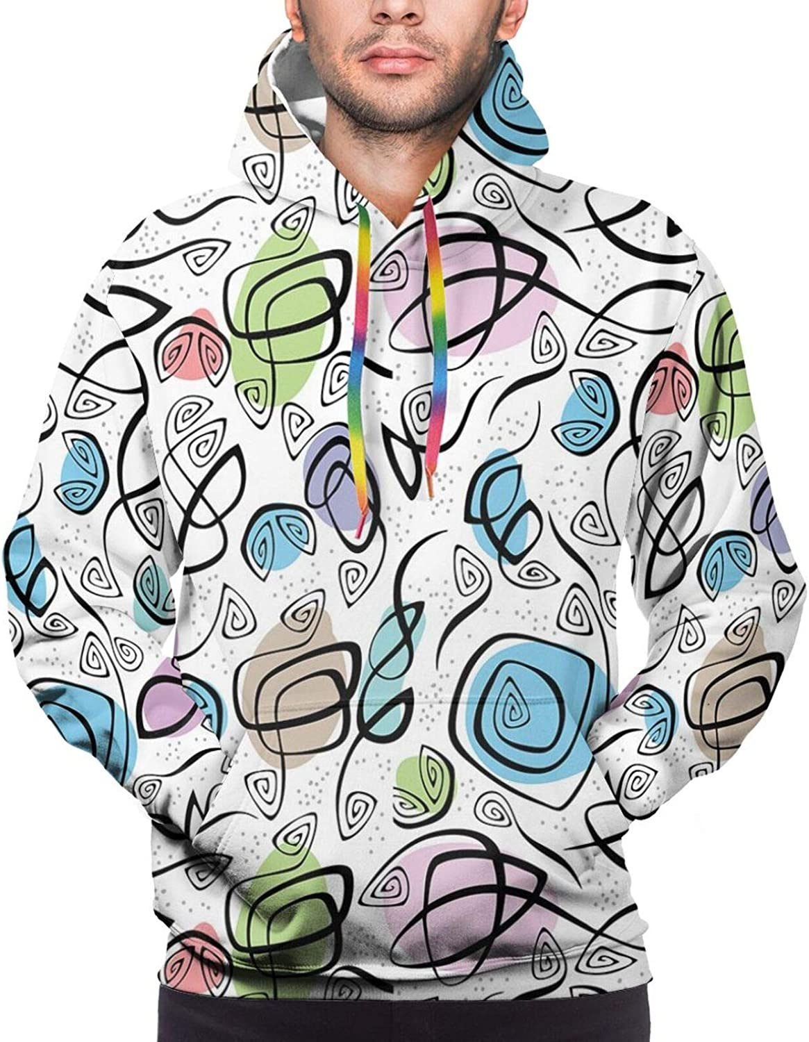 Men's Hoodies Sweatshirts,Abstract Lined Background with Pastel Leaves and Flowers Retro Inspirations