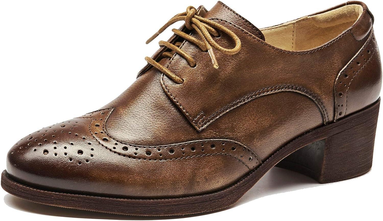 U -lit kvinnor Round Toe Cowhide Lace Lace Lace Up Mid Heel Perforöd Wintip Vintage Bröd Oxford Loafer skor  spara upp till 30-50% rabatt