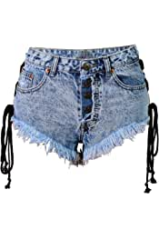 Suncolor8 Womens Summer Rivet Ripped Destroyed High Waisted Denim Shorts Jeans