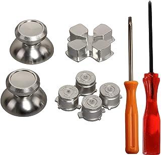 eJiasu Metal Aluminum Bullet Buttons + Cross Key ABXY Buttons+ Thumbsticks Thumb Grip Chrome D-pad Button Set for PS4 DualShock 4 Controller(One Set Silver)