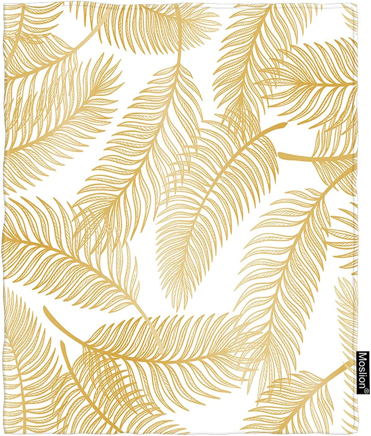 Moslion Leaf Blanket Vintage golden Autumn Tropical Palm Leaf Tree Branch in Forest Throw Blanket Flannel Home Decorative Soft Cozy Blankets 60x80 Inch for Adults Kids Sofa