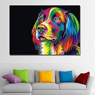 Impresión de lienzo Animal perro pintura moderno perro de pensamiento divertido colorido animal cuadro de arte de pared pa...