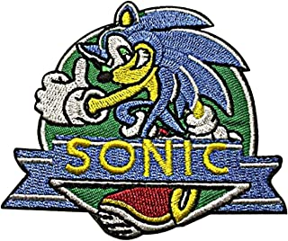 Sonic the Hedgehog 3 1/2 Inch Diameter Embroidered Iron on Patch