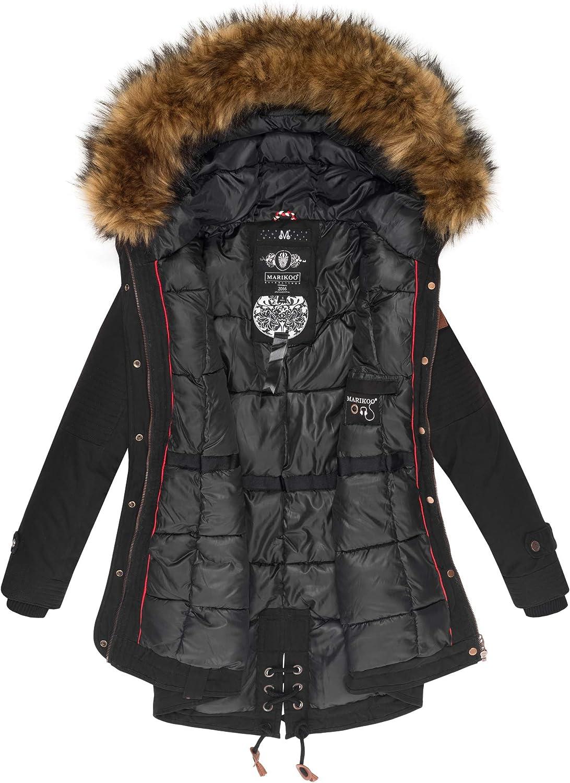 Marikoo Damen Winter Jacke Stepp Parka Mantel Winterjacke warm gef/üttert Kunstpelz LA Viva S-XXL