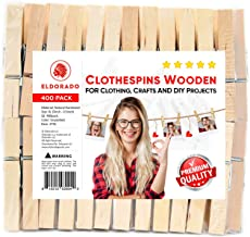 """Eldorado Clothespins, Natural Wood, 3"""" x 0.5"""" inches, Value Pack of 400 for Multipurpose Everyday Clothing, Laundry, Drying, Crafts, and DIY Projects, Size XL. (400)"""