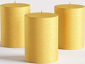 مجموعة من 3 شموع عامود ذهبية معدنية مقاس 3 بوصات × 4 بوصات غير معطرة مصنوعة يدويًا لحفلات الزفاف، وديكور المنزل، والاسترخا...