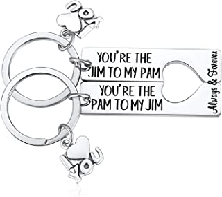 The Office Gifts for Men, The Office Pam and Jim Keychain, 2pcs You are The Jim to My Pam Couple Key Chains Set The Office TV Show Inspired Merchandise for Him