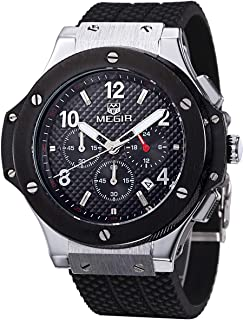 MEGIR 腕時計 スポーツ クロノグラフ 日本製クオーツ メンズ ブラック シルバー