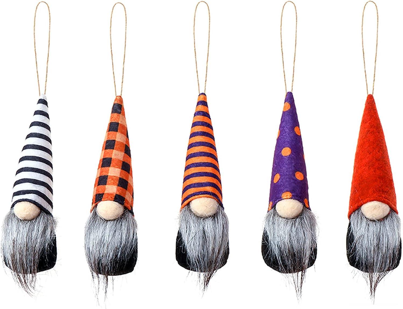 Halloween Hanging Gnomes Charlotte Mall Japan's largest assortment Ornaments Set Beard Faceless Grey of 5