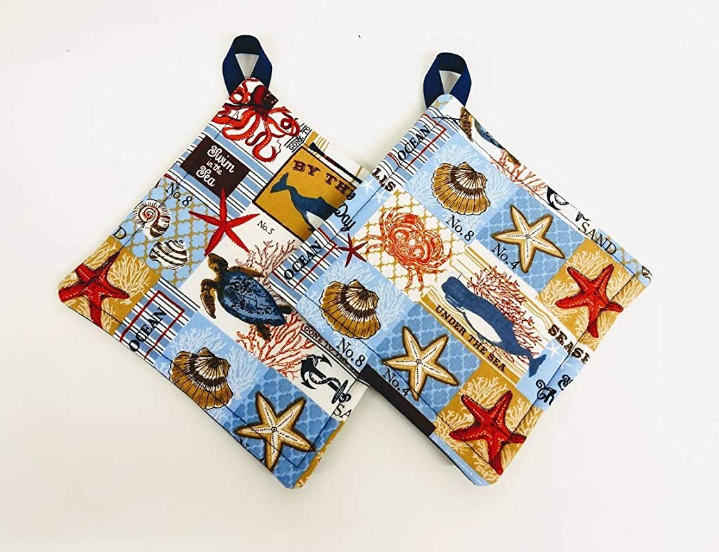 Sea The Day Beach Potholder Or Hot Pad Set With Hanging Loop