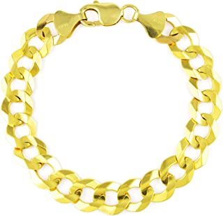 "Men's 14k Yellow Gold Solid 10mm Cuban Curb Chain Bracelet, 8""- 9"""
