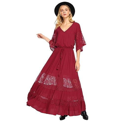 b741566e9ea Milumia Women's Bohemian Drawstring Waist Lace Splicing White Long Maxi  Dress
