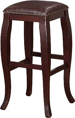Amazon Com Linon San Francisco Square Top Bar Stool Brown Furniture Decor