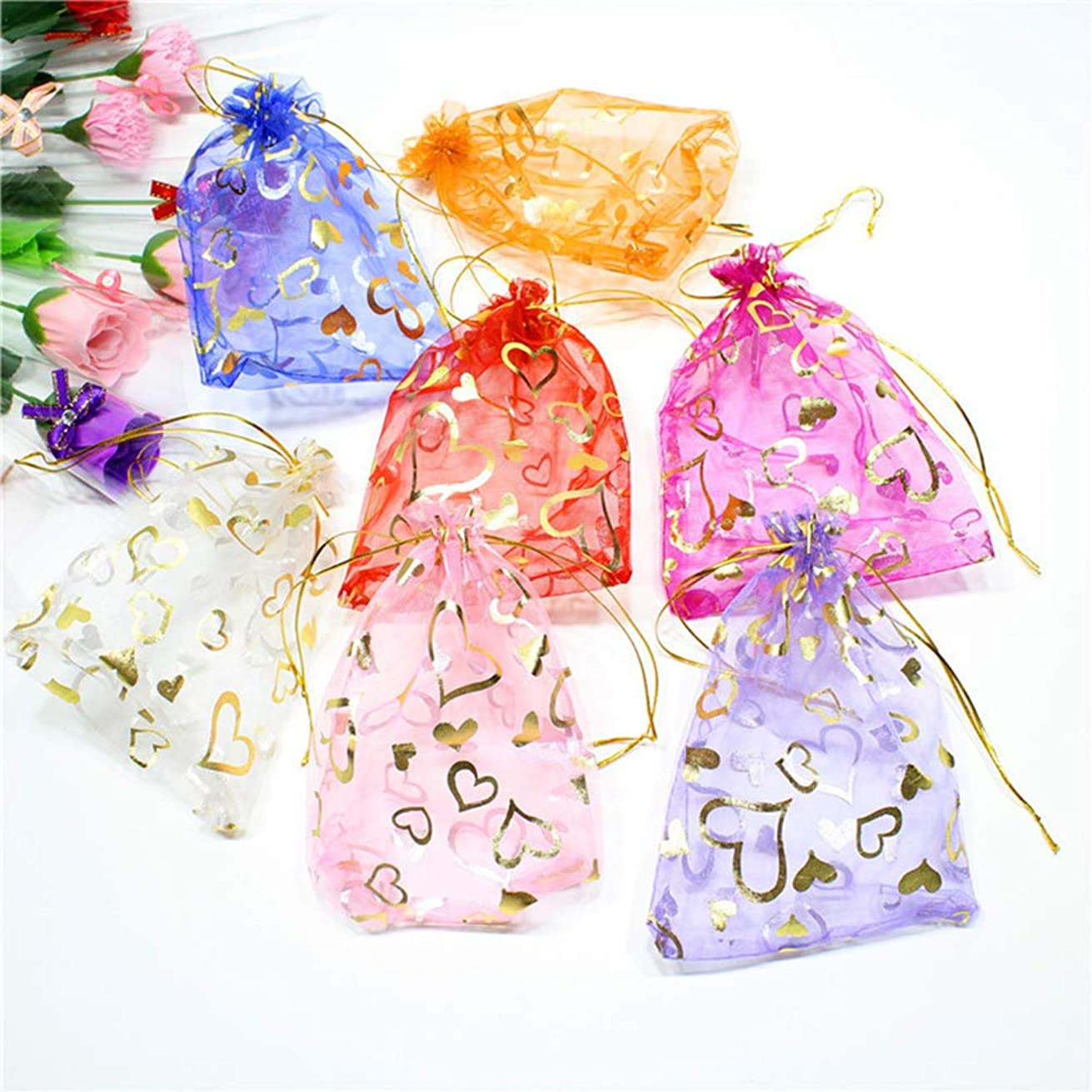 100 Pcs Sheer Drawstring Organza 5 x 7 Multicolor Jewelry Pouches Wedding Party Christmas Favor Gift Bags with Exquisite Bronzing Heart Pattern (Multicolor-1, 5