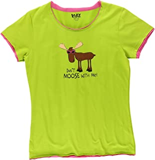 Don't Moose with Me Women's Fitted Womens Pajama Shirt TOP by LazyOne | Pajama TOP for Women (Large)