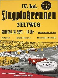 Historic Pictoric Racing Car Porsche Zeltweg 1958-24in x 18in Vintage Poster Print
