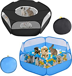 Panghuhu88 2Pcs Small Animal Playpen Pet Fences Bunny Cage with Zippered Cover for Dog,Hedgehog,Cat,Guinea Pig in Outdoor ...