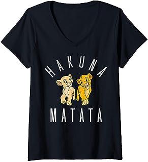 Femme Disney Lion King Simba Nala Hakuna Matata T-Shirt avec Col en V