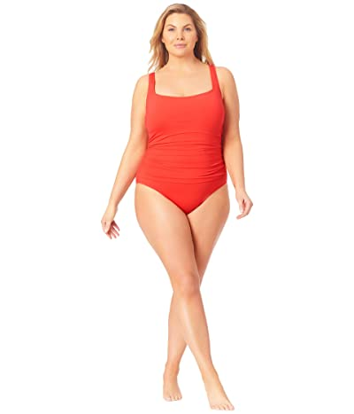 Anne Cole Plus Size Live in Color Square Neck Front Shirred Over the Shoulder One-Piece