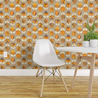 Spoonflower Peel and Stick Removable Wallpaper, Retro Floral Modern Mid Century Vintage Nostalgia 1950S Flowers Kitchen Print, Self-Adhesive Wallpaper 12in x 24in Test Swatch