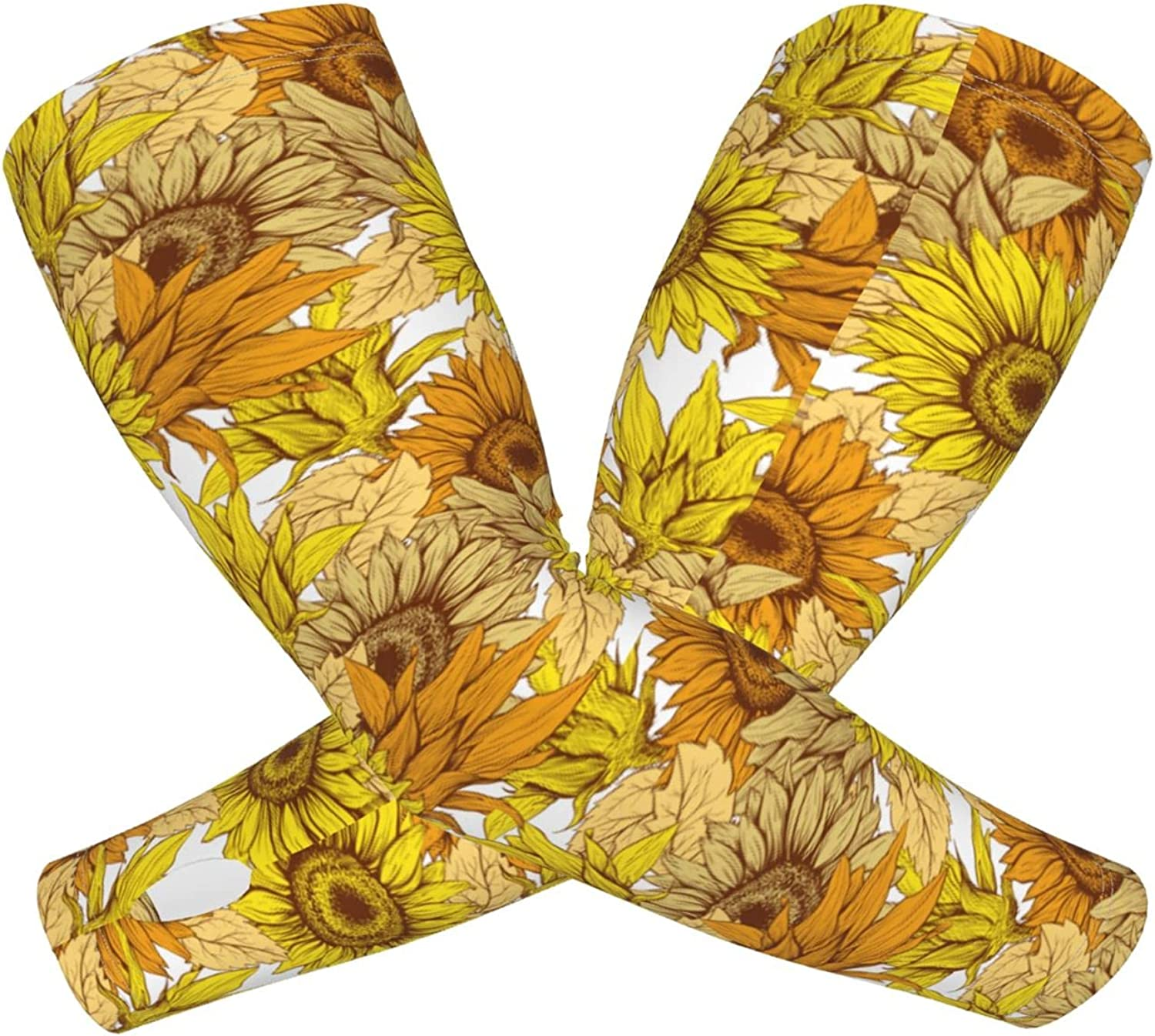 Unisex Sports Cooling Sleeves Fingerless Gloves Retro Sunflower Floral Print Sun Protection Arm Sleeves With Thumb Holes