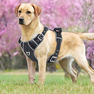 Idepet No-Pull Dog Harness with Handle Adjustable Reflective Pet Harness Vest Easy Control for Small Medium Large Dogs Training Walking Hiking Black
