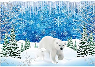 Funnytree 7x5ft Winter White Polar Bear Party Backdrop Frozen Ice Snow Wonderland Christmas Photography Background Snowflake Forest Animal Baby Shower Kids Birthday Cake Table Decoration Photo Booth