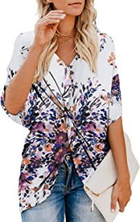 ee8da6829f421 Dokotoo Womens Fashion Floral Blouses Short Sleeve V Neck Twist Ruched Tops  and T Shirts S