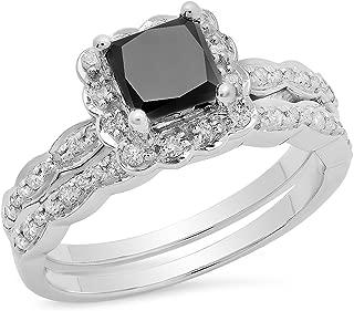 Dazzlingrock Collection 1.80 Carat (ctw) 10K Gold Princess & Round Black & White Diamond Engagement Ring Set