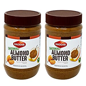 Haddar, 100% Pure Almond Butter, 18oz (2 Pack) Only One Ingredient!