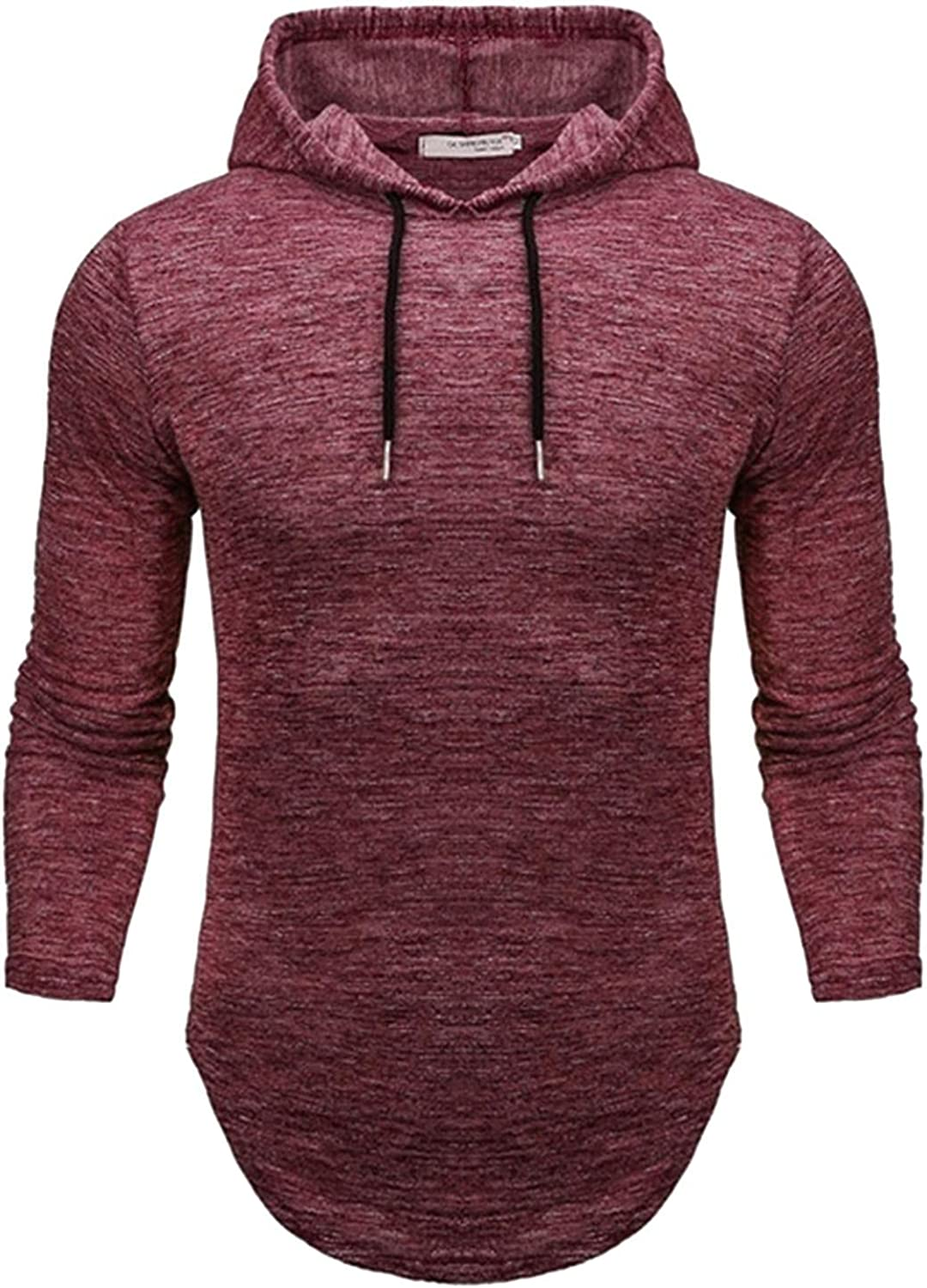 Mens Hooded Sweatershirt Solid Long Sleeve Hoodies Pullover Hipster Hip Hop Hem Sweater Top Lightweight Athletic Blouse