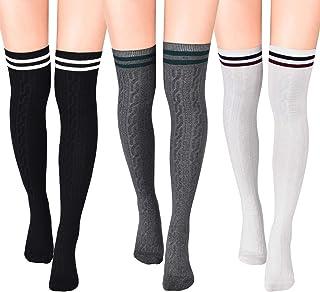 3 Pairs Thigh Length Socks Women Striped Cotton Thigh High Tube Sock Over Knee Boot Socks for Women Girls