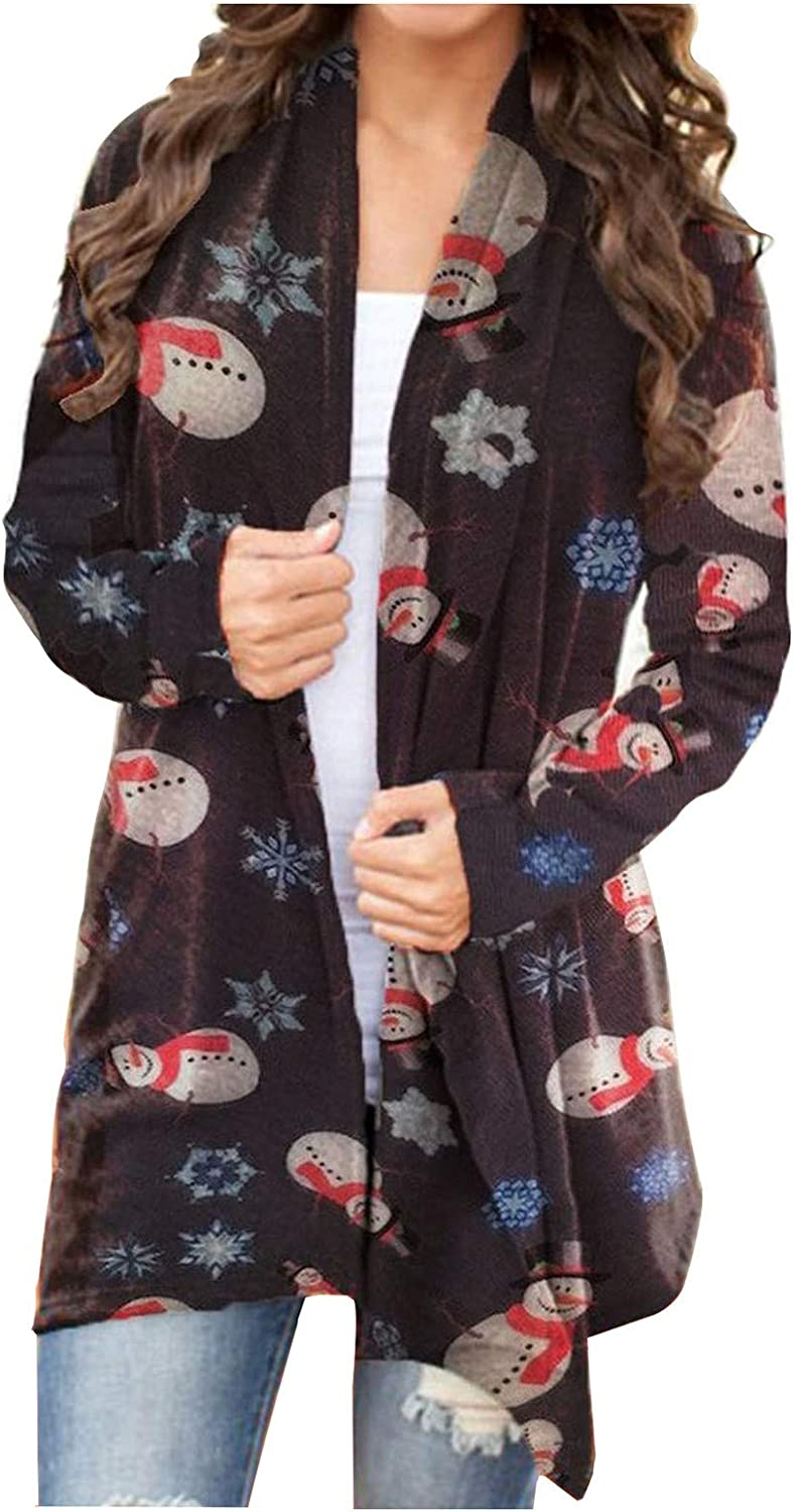 Womens Christmas Long Sleeve Plus Size Open Front Elbow Patch Cardigans Coat