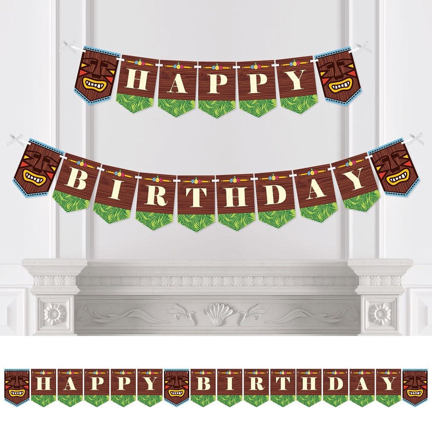 Big Dot of Happiness Tiki Luau - Birthday Party Bunting Banner - Tropical Hawaiian Summer Party Decorations - Happy Birthday