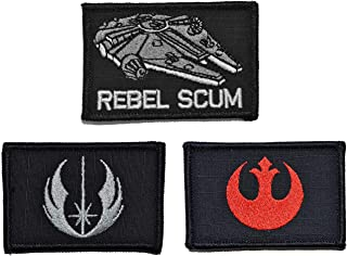 Antrix 3 Pieces Star War Rebel Alliance Rebel Scum Emblem Patch and Jedi Order Emblem Patch Military Morale Patch Hook & Loop Tactical Patches -3.15
